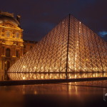 Louvre Pyramid at Night, Paris, France